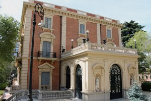 East facade of LAZARO GALDIANO MUSEUM in Salamanca district in Madrid (Spain). Building from 1908.